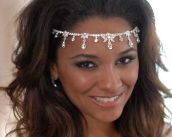 Dangling Crystal Headband, Rhinestone Headpiece, Rhinestone Bridal Accessories, Modern Bridal Accessories, Bridal Headpiece ~TI-3133