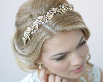 Gold Bridal Headband, Floral Wedding Headband, Gold Wedding Headpiece, Gold Leaf Headband, Bride Headband, Headband for Wedding ~TI-3255-G