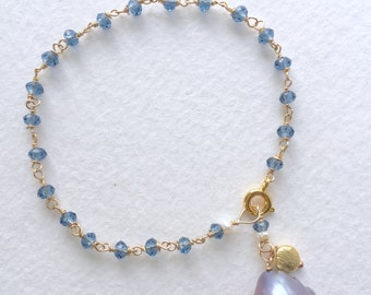 Pearl and Crystal Bracelet  by KarenWhalenDesigns