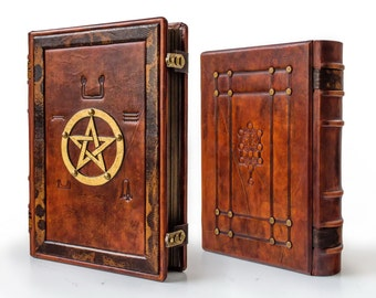 "Book of Shadows - Leather Journal, 9"" x 12"", BoS, magician book, grimoire, gift box"