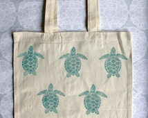 Turtle Tote Bag | 100% cotton | turquoise print | Eco friendly | Lino print | Long handles | 38cm x 42cm |