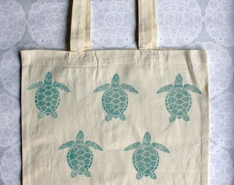 Turquoise Turtle Tote Bag | 100% cotton | Eco friendly | Reusable shopper bag | Ethically produced | canvas bag |
