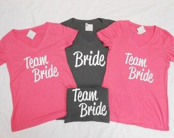 Set of 4 Bridesmaid T-Shirts, Bride T-Shirt, 4 Bachelorette Party T-Shirt, 4 Brides Crew T-Shirts, 4 Team Bride Shirts, 4 Brides Squad Tees