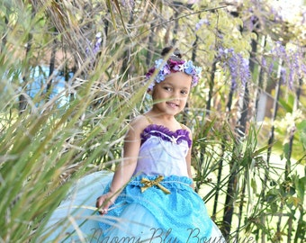 Under The Sea Mermaid Tutu Dress Blue Costume. Pool Party, Princess Parties, Birthdays, Photos, Halloween Costume. Little Mermaid Ariel