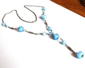 Antique Art Nouveau Lavalier Necklace Blue Glass Drop Pendant Downton Abbey Jewelry Lariat Y Necklace