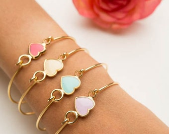 Gold Heart Bracelet,  Dainty Cuff Bracelet, Love Bracelet, Friendship Bracelet, Bridesmaid Bracelet, Everyday Enamel Gold Filled Jewelry.