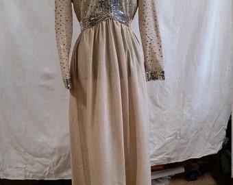 Gorgeous Victor Costa Ltd Champagne Sequin 1970s Evening Dress