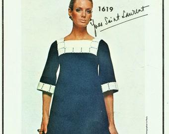 Vogue Paris Original Pattern 1619 YSL 60's MOD Dress Extrodinarily RARE Sz 14 Cut Complete Vogue Vintage Haute Couture Sewing Pattern Supply