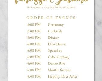 Kylie Wedding Schedule Poster Wedding Order of Events