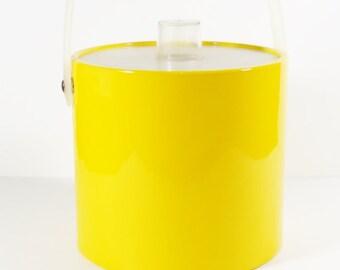 70s Yellow Ice Bucket with Lid - Shelton Ware - Towle