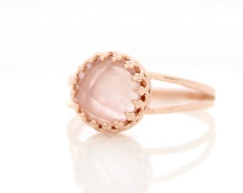 Rose quartz ring • Delicate rose gold ring set with pink gemstone • Spring Jewelry