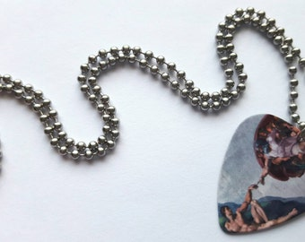 Michelangelo Guitar Pick Necklace with Stainless Steel Ball Chain - Sistine Chapel - Italy - Renaissance - fine art accessory