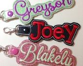 Snap Tab Personalized Backpack Name Tag, Key Chain, Key Fob, ID Tag