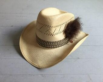 Vintage 70s LEVI'S HAT / 1970s Woven Straw Tall Curved Brim Cowboy Hat 7 3/8