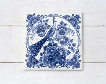Traditional Vintage Dutch Square Tile with Blue Glaze Peacock Floral- Teapot Stand Kitchen Decor Vintage Kitchen