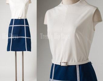 Mod Dress, Vintage White Dress, 60s Dress, Mad Men Dress, Mod White dress, Blue white dress - L/XL/1XL