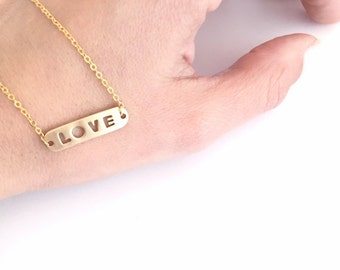 Bar necklace, available in Silver plated or Gold plated, Love Bar necklace, Everyday necklace