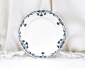 Antique French Ceramic Pottery China Badonviller Dessert Plate with Blue Floral Pattern, Vintage Interior, Chateau Chic, Country Decor