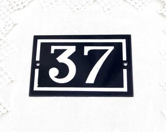 Vintage Traditional French Enamel House Number Plate Number 37 in Dark Blue with White Colored Numbers / Porcelain House Sign Retro Interior