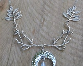 Woodland elven necklace, Diana moon goddess necklace, silver statement branch and crescent moon necklace