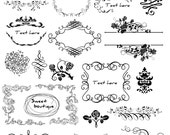 BLACK Flourish Frame, Clip Art Digital, Border Flourishes Clipart, Digital Frame, Clipart digital, Rose clipart, Rose frame, Wedding 0546
