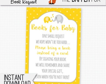 Book Request Yellow Elephant Bring A Book Baby Shower insert card - printable - Books for Baby insert Yellow and Grey Gender Neutral