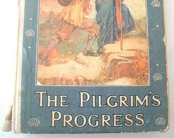 On Sale Antique Book The Pilgrim's Progress Children's Edition by John Bunyan 1911 Full Page Color Plates