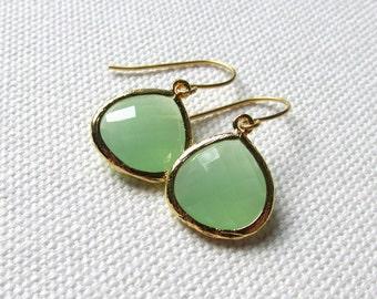 Mint Green Teardrop Earrings Light Green Bridesmaid Gift Elegant Dainty Gold Dangle Earrings