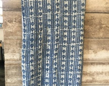 Wallis Levin kantha hand stitched quilt 100% India Cotton Bohemian boho Indigo blue white block print striped Reversible Coverlet FULL QUEEN