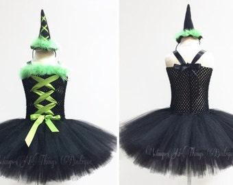 WITCH HALLOWEEN COSTUME 2pc Set, Tutu Dress w/ Mini Witch Hat Headband, Toddler, Girls, Kids, Baby, Infant, Black, Lime Green, Children