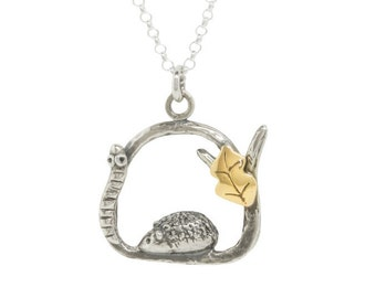 Hedgehog & worm necklace