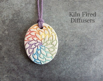 Seven Chakra Colors Essential Oil Diffuser Necklace Floral Rainbow Aromatherapy Natural White Clay Aroma Pendant Organic Meditation Jewelry