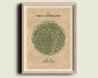 Celestial Chart Stars Southern Hemisphere Constellations Print Vintage Image