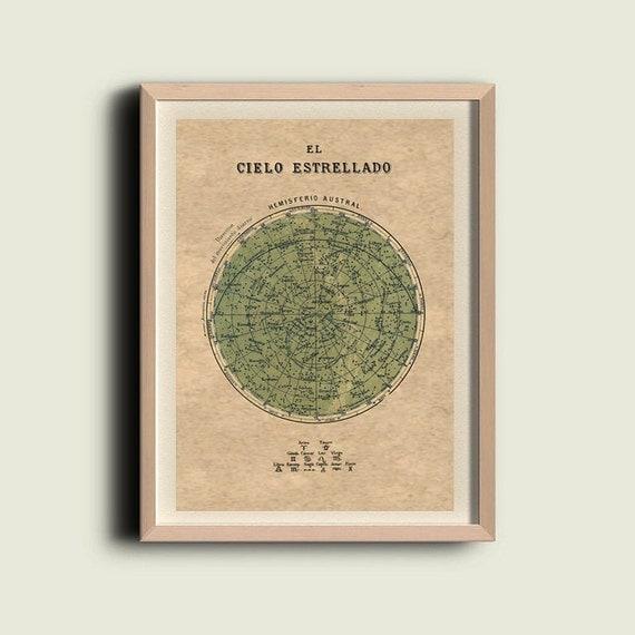 Celestial Chart Stars Southern Hemisphere Constellations Print Vintage Image