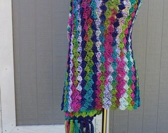 Crocheted Prayer Shawl - Jazz Stripe