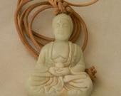 White jade Buddha pendant w leather cord necklace , beaded jewelry , meditation Buddha , Buddhist religious icon , Buddhist jewelry , jade