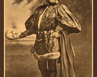 Fridge Magnet Actor Sarah Bernhardt as Hamlet holding skull in famous gravedigger scene Alas, poor Yorick! I knew him, Horatio