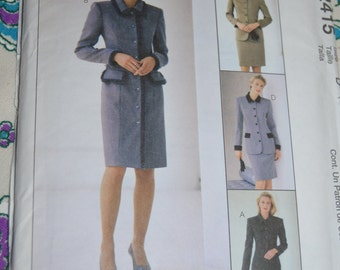 McCalls 2415 Misses Lined Dress Lined Jacket and Skirt Sewing Pattern UNCUT Size 10 12 14 or Size 12 14 16 or Size 16 18 20