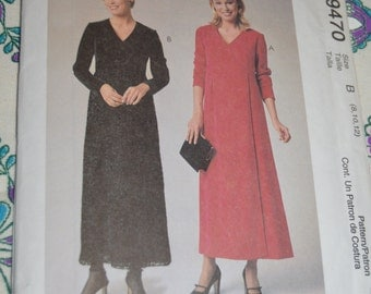 McCalls 9470 Misses Mock Wrap Dress Sewing Pattern - UNCUT - Sizes 8 10 12 or Size 12 14 16 or Size 16 18 20