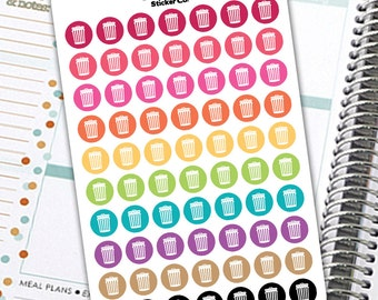 Trash Can Stickers, Trash Day Sticker, Planner Stickers, Trash Stickers, Garbage Pail Sticker, Trash Sticker, Planner Sticker Set- Rainbow