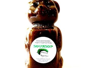 Organic SOURSOP Honey - 12oz - Graviola Annona muricata Herbal Infused Raw Honey, certified kosher gluten-free non-GMO