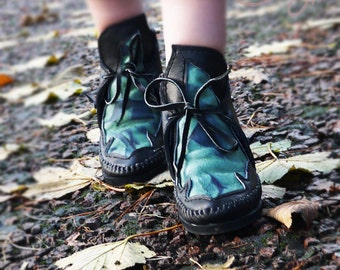 Moccasins, Black And Green Leather Moccasin Boots, Womens Moccasins, Leather Moccasins, Boho Boots, Black Leather Boots, Green Leather Boots