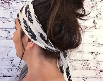 Tie-Back Headband - Black Feathers - Boho Headband - Yoga Headband - Eco Friendly