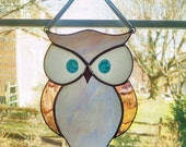 Stained Glass Owl Suncatcher - Pastel Blue and Pink Owl - Bird Ornament - Window Decor -  Nature Decor - Housewarming Gift