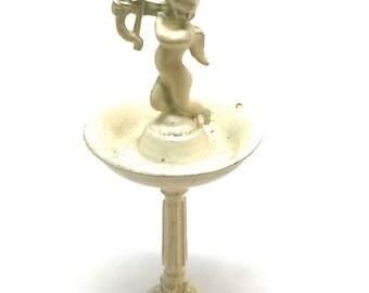 Miniature Bird Bath, Cupid, Cast Metal, Cold Painted, Doll House, Garden, Fairy Garden, Yard,1:12 Scale