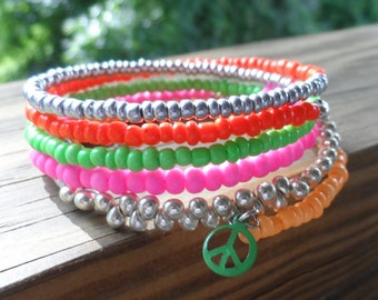 Memory Wire Bracelet in Neon and Silver beads