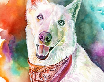 PET MEMORIAL watercolor PAINTING from photo pet loss gift dog memorial portrait from photo husky owner gift swiss shepherd dog lover gift
