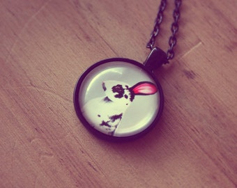 Rabbit Necklace Rabbit Pendant Animal Pendant Necklace Glass Tile Pendant Necklace Whimsical Nature Wildlife Cute Bunny Black Gray Grey