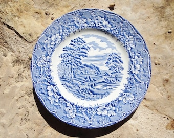 Barratts Old Castle Blue and White Plate Staffodshire England