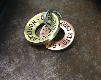 """Hand Stamped Dog Tags - Made to Order - 1-1/4"""" Brushed Brass Concave with a 1-1/8"""" Copper Flat - COMBO"""
